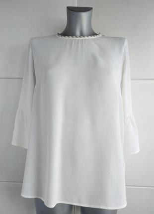 Стильная блуза next  белого цвета с бисером