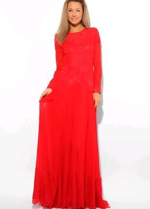 Шикарное красное вечернее выпускное платье с кружевом и шлейфо...