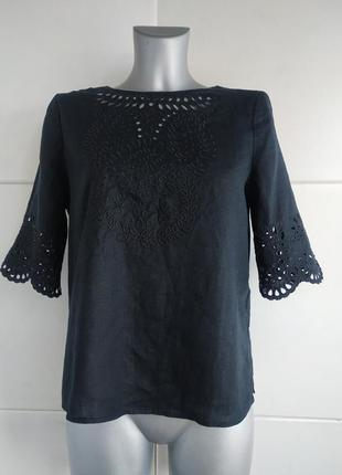 Льняная блуза с вышивкой white stuff черного цвета