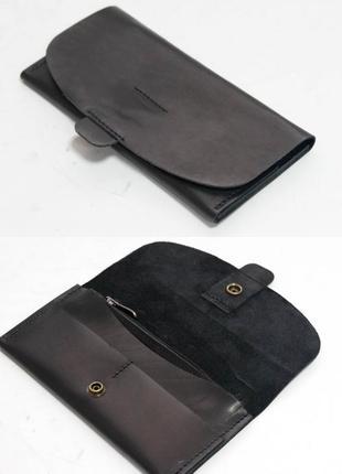 Кожаный кошелек клатч из натуральной кожи итальянский краст че...