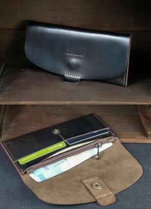 Кожаный кошелек клатч из натуральной кожи итальянский краст ко...