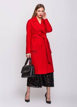 Скидка! шикарное женское длинное красное весеннее пальто с выш...