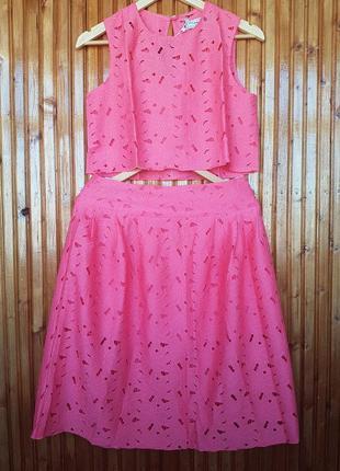 Кружевной костюм charm collection. укороченный кроп топ + юбка...