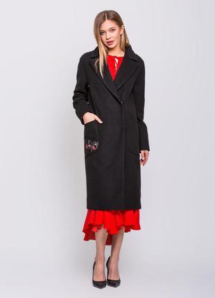 Скидка! шикарное женское длинное черное весеннее пальто с выши...