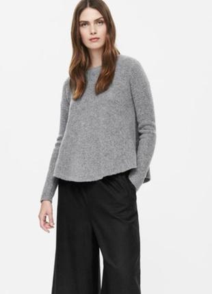 Шерстяная кофта свитер пуловер джемпер cos серого цвета