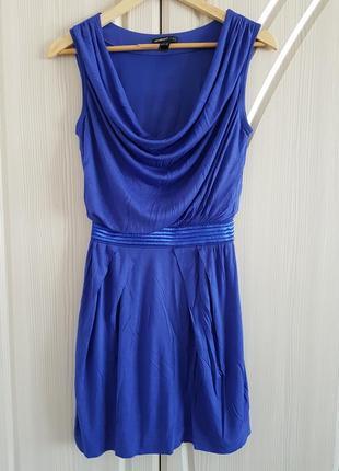 Базовое платье на подкладке mango синего цвета.