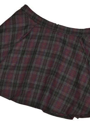 Брендовая мини юбка на молнии в клетку atmosphere шерсть больш...