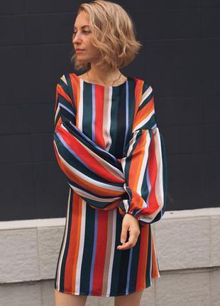 Полосатое платье, шелковое, атлас, яркое платье, нарядное