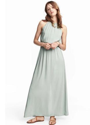 Длинное  мятное платье h&m