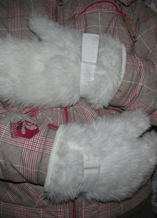 Рукавицы, варежки перчатки m-l на 21-22 см объем руки белые зи...