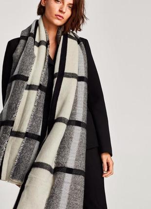 Zara двусторонний тёплый шарф в клетку черно-белый большой