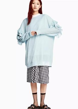 Длинная кофта, свитер из велюра от h&m с оборками