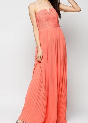Длинное вечернее платье плиссе с кружевом от h&m