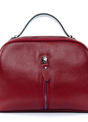 Бордовая кожаная сумка через плечо кросс-боди маленькая