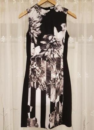 Интересное платье в принт от h&m. на всю спинку молния.