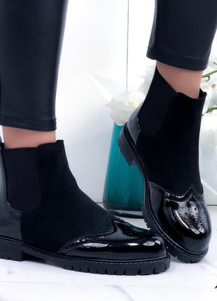 Чёрные замшевые ботинки челси, демисезонные лаковые ботинки челси