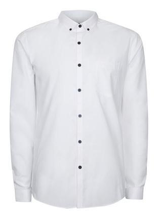 Белая рубашка с манжетами на пуговицах topman