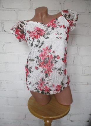 Блуза/футболка кружевная белая в цветы/кружево/s-m