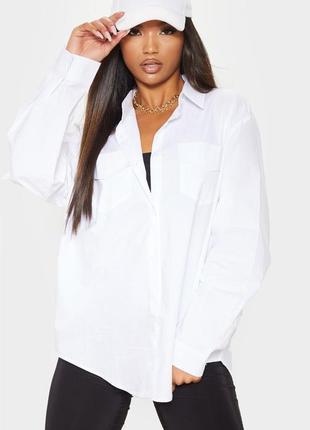 Белая базовая хлопковая рубашка свободного кроя