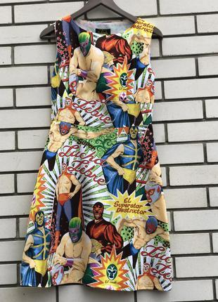 Платье,сарафан с комиксами,хлопок,