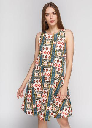 Разноцветное платье в орнамент\платье мини\сукня міні в орнаме...