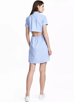 Летнее хлопковое платье h&m с карманами и разрезом на спинке