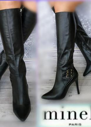 38р кожа новые minelli франция кожаные высокие сапоги