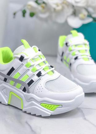 Белые кроссовки на платформе, белые массивные кроссовки с сала...