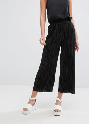 Крутые брюки кюлоты плиссе штаны от h&m