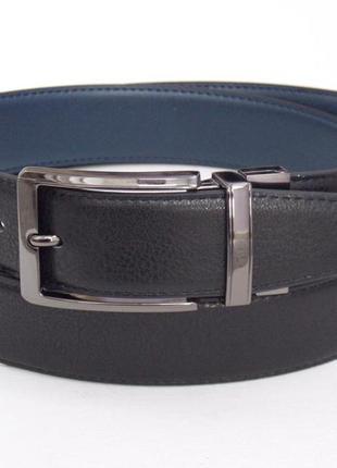 Ремень двухсторонний мужской кожаный alon черно-синий