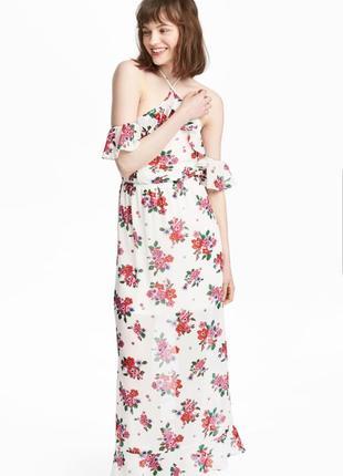 Летнее шифоновое платье h&m с открытыми плечиками и оборками в...
