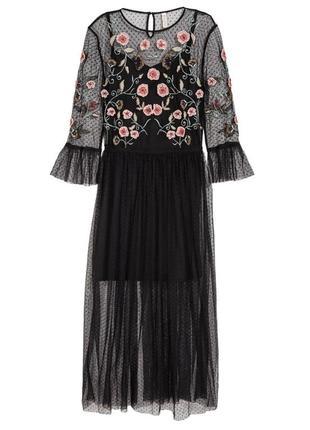 Хит цена! шикарное платье миди h&m сетка с вышивкой и бисером