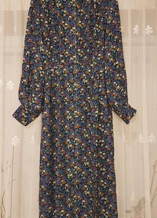 Стильное миди платье рубашка на пуговицах h&m в цветочки