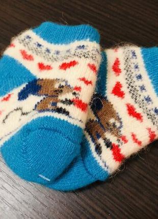 Тёплые шерстяные носочки на малыша 0-6 месяцев