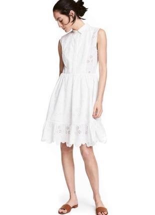Белое летнее хлопковое кружевное платье h&m. прошва.