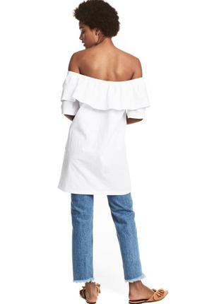 Белое хлопковое платье h&m с воланами открытыми плечиками