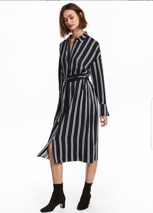 Трендовое платье рубашка h&m на пуговицах, с пояском.