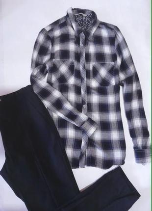 Стильная рубашка,байка , в клетку george