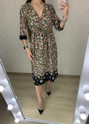 Платье миди в цветах zara