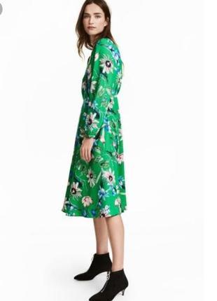 Трендовое миди платье h&m в цветочный принт
