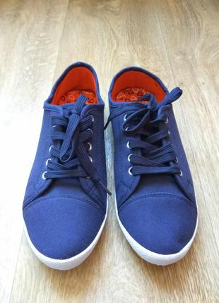 Темно-синие мокасины (кеды) женские на шнурках