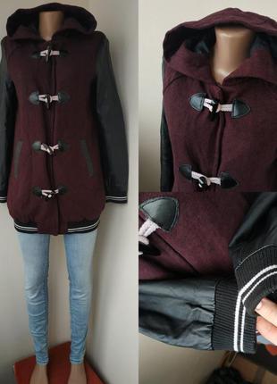 Пальто спорт с кожаными рукавами -90% скидки