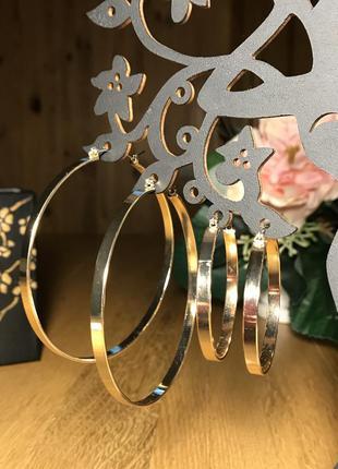 Тренд! комплект 2 пары. крупные золотистые серьги  кольца h&m