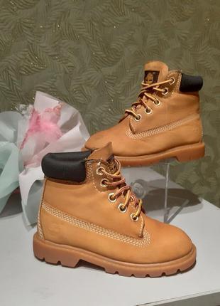 Оригинальные детские кожаные  демисезонные ботинки timberland 26р