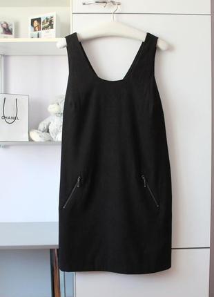 Платье-сарафан черное под замш george (к029)