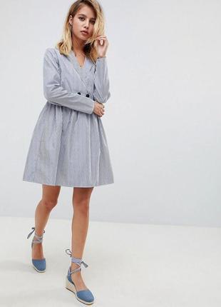 Свободное платье рубашка в полоску от asos