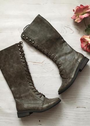 Высокие сапоги на шнуровке (36р)