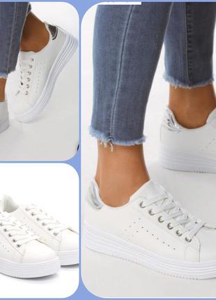 Стильные белые кеды- кроссовки 36,5р по стельке 23,5см. польша...
