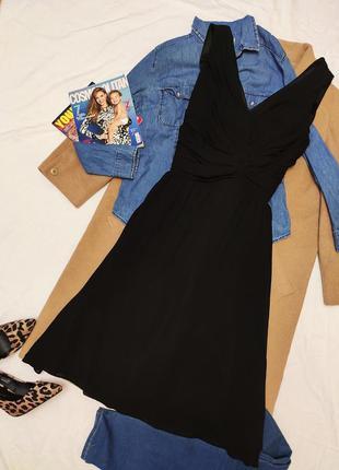Чёрное платье шифоновое на подкладке миди классическое вечерне...