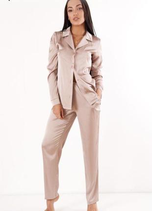 Пижама шелковая рубашка и штаны женская